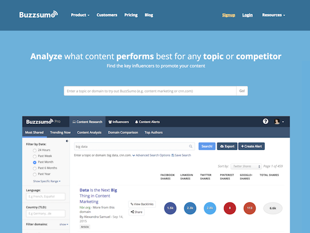 social media marketing tools - buzzsumo