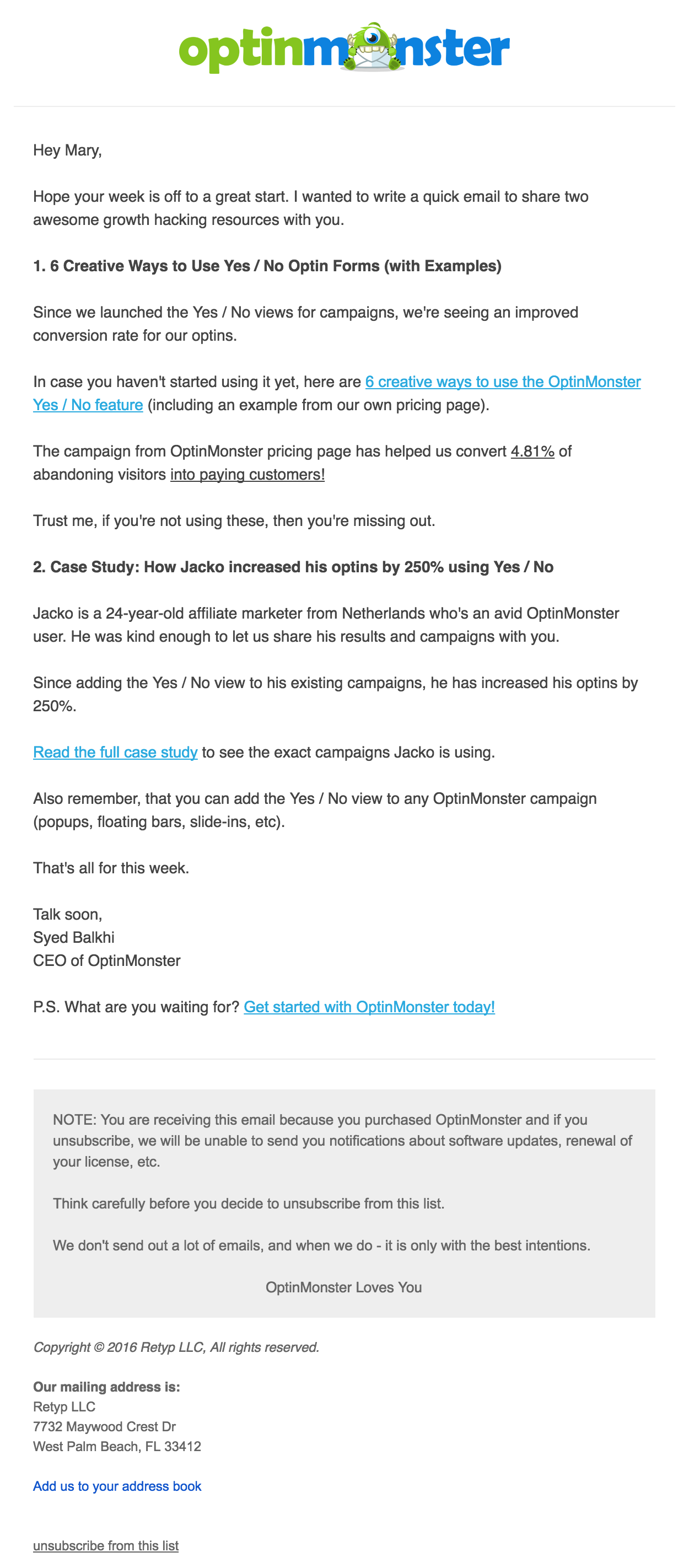 OptinMonster branded email example