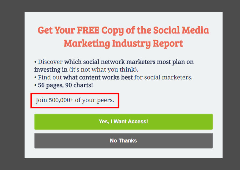 The social proof in this optin is below the copy