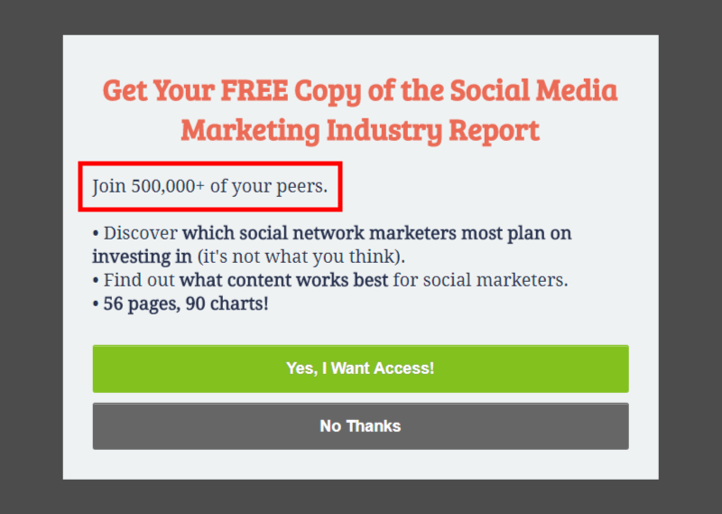 The social proof was moved above the copy