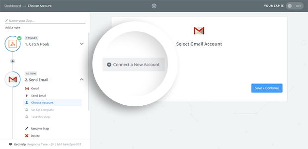 Connect or choose your Gmail Account