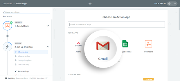 Choose Gmail From Action App