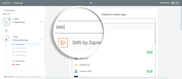 choose-sms-by-zapier-as-your-action-app