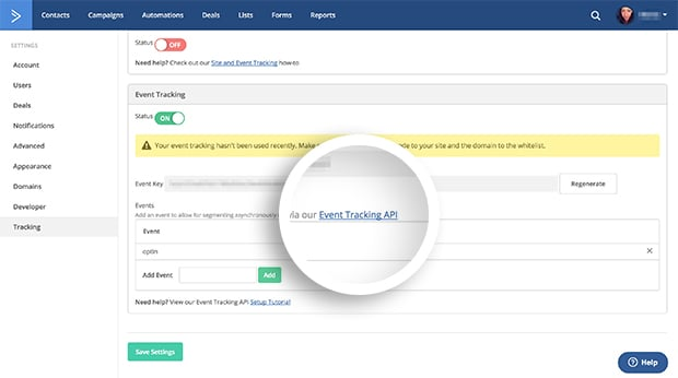 Select the event tracking api link to locate the Site Tracking Account ID.