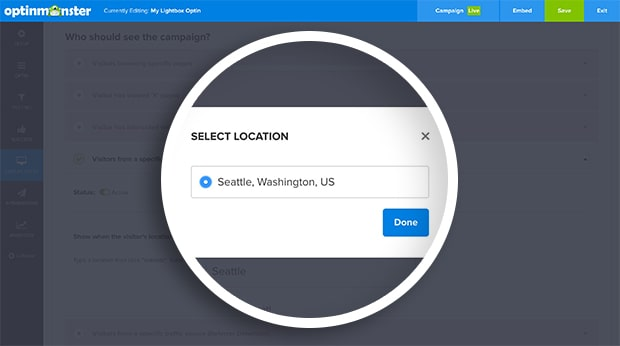 Choose the location from the modal and select the Done button.