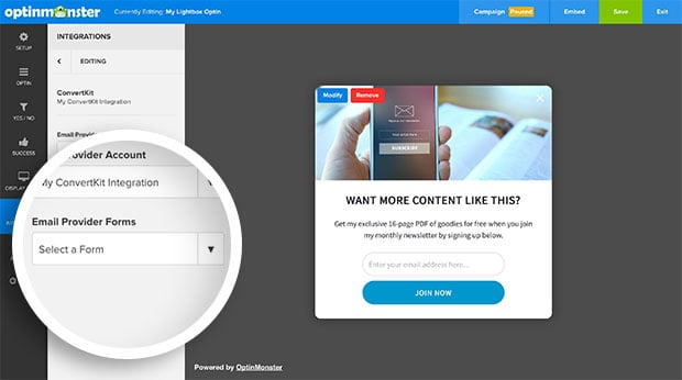 Once connected you can select a specific Form from your ConvertKit account to add new subscribers to.