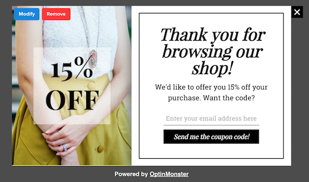 lightbox popup coupon-after-4-pageviews