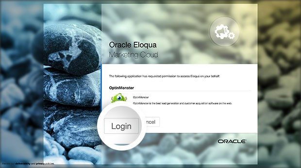 Select the Login button to log into your Eloqua account to connect with OptinMonster.
