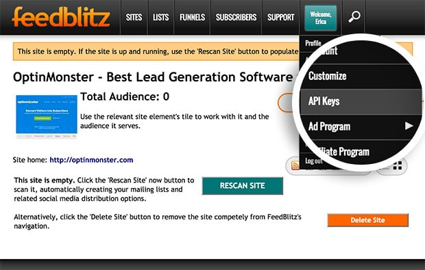 Navigate to the API Keys page in your Feedblitz account.