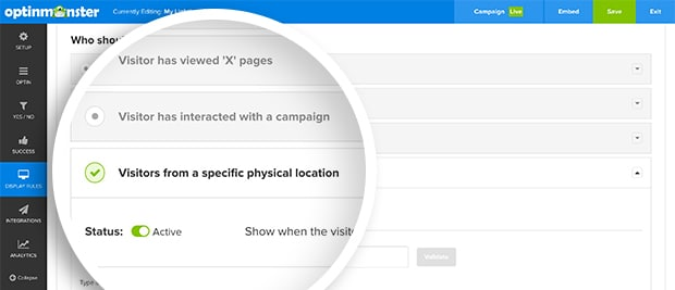 "Expand the ""Visitors from a specific physical location"" section to configure your geo-location targeting."