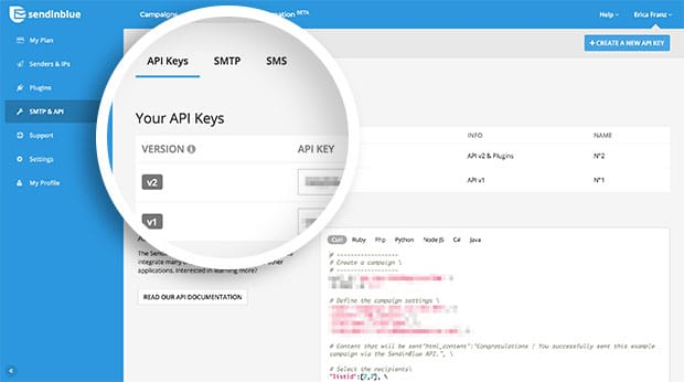 Copy the API key for your SendinBlue account to connect to OptinMonster.