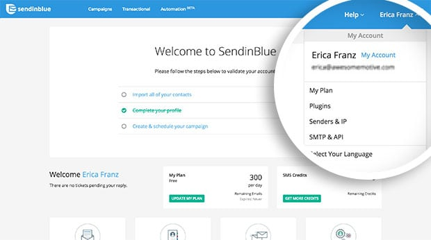 Select the SMTP and API link in SendinBlue.