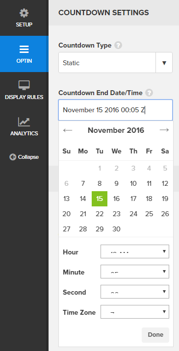 OptinMonster static countdown timer campaign