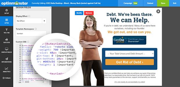 OptinMonster's custom CSS tool