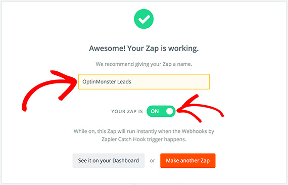 Zapier Name Zap and Toggle to On