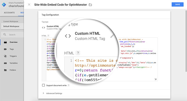 Paste-OptinMonster-Sitewide-embed-code-in-the-HTML-field-area
