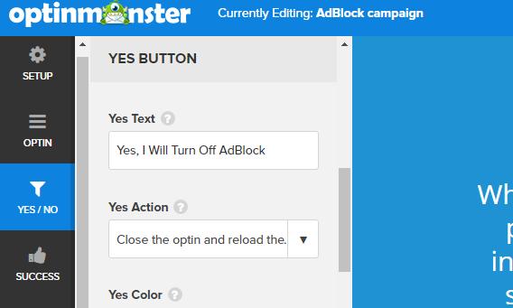 yes text turn off adblock optin
