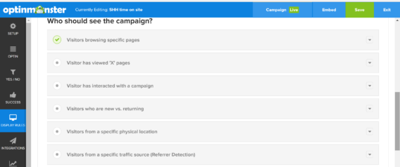 page level targeting display rules