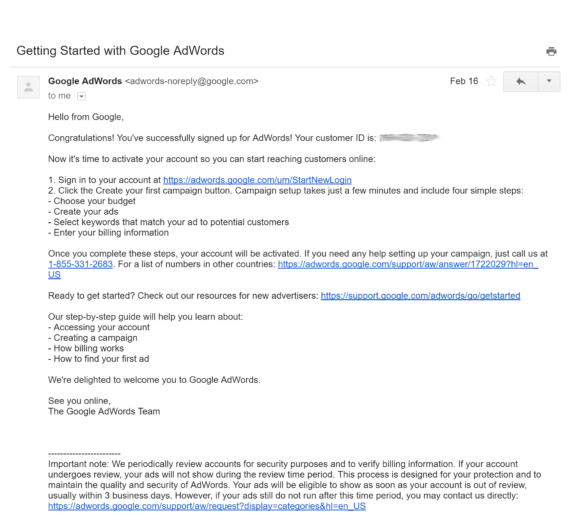 adwords welcome email example