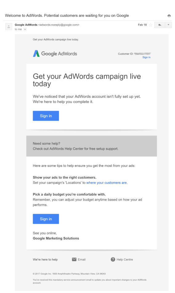 adwords welcome email
