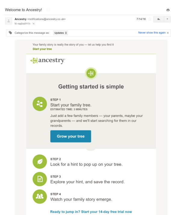 ancestry welcome email example