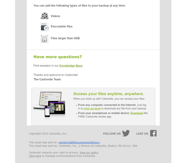 carbonite welcome email example