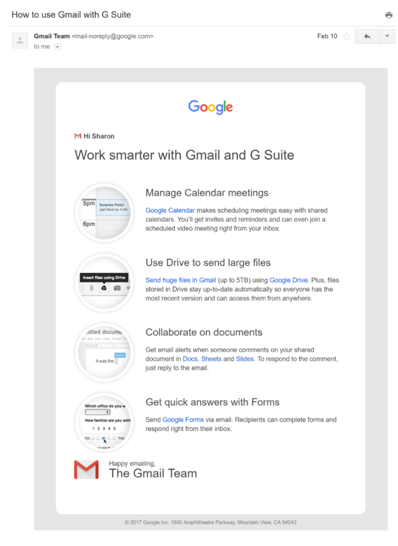 welcome email examples - gsuite