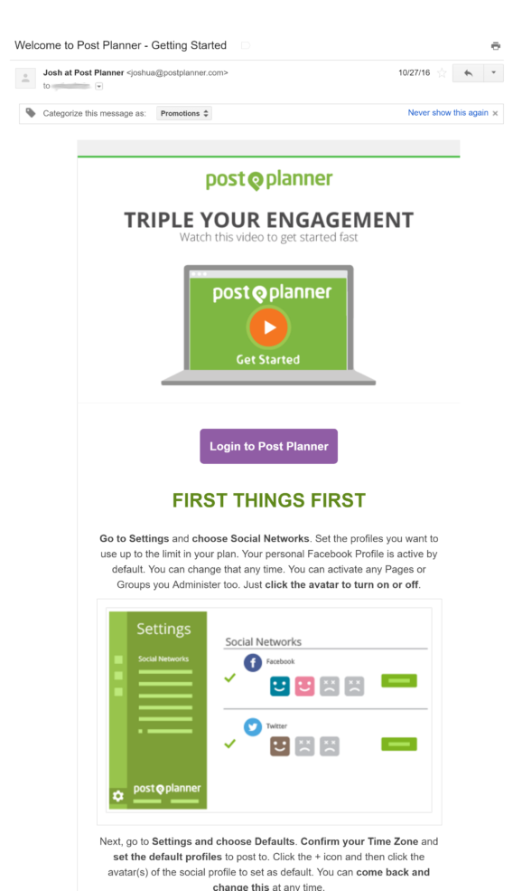 postplanner welcome email