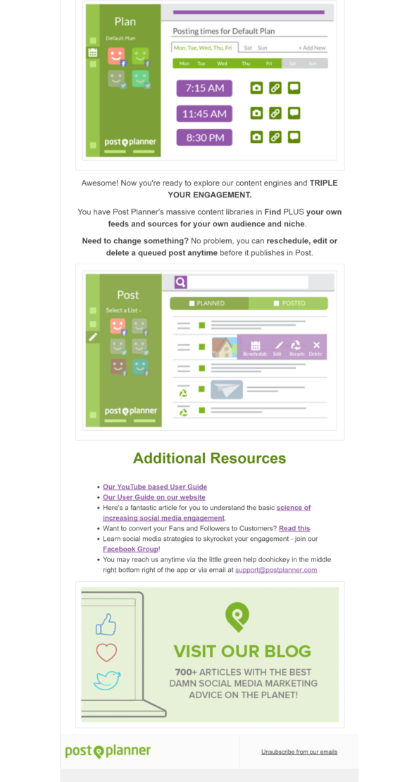 welcome email examples - postplanner