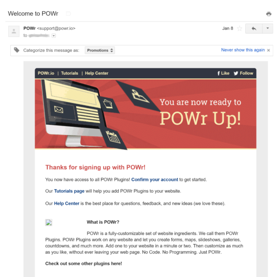 powr welcome email