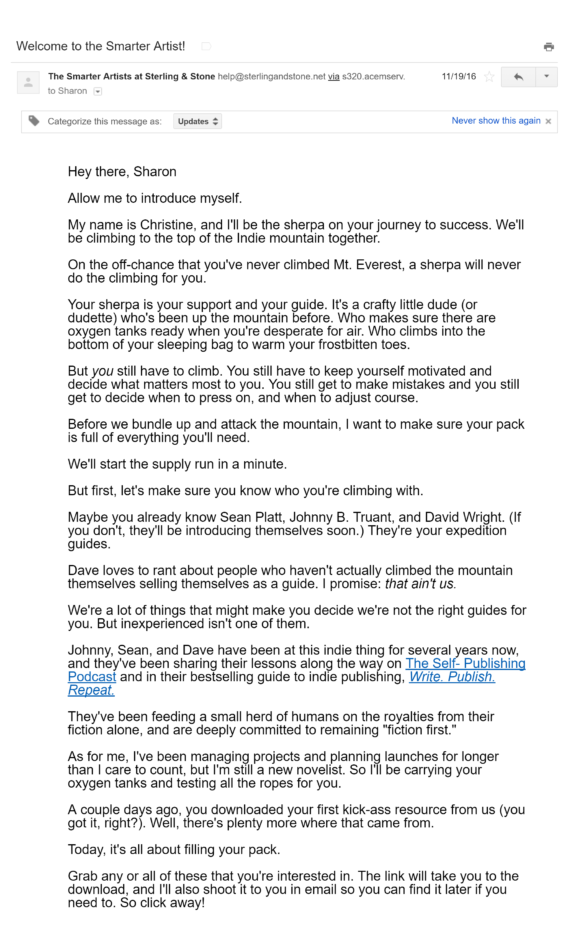 smarter artist welcome email