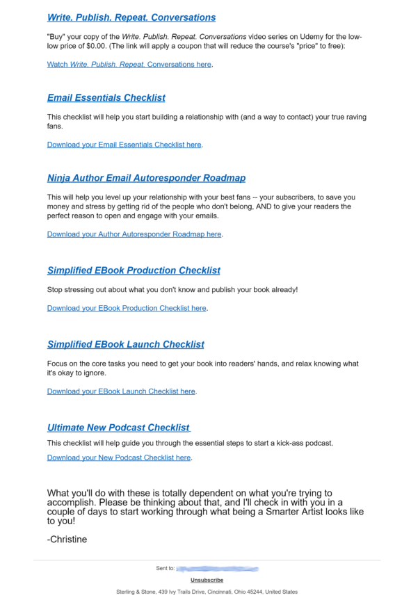 welcome email examples - smarter artist