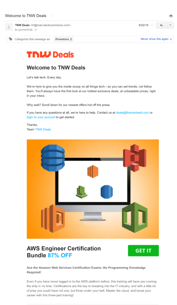 tnw deals welcome email