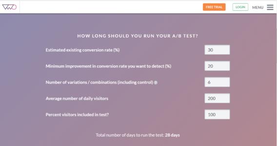 split testing duration calculator