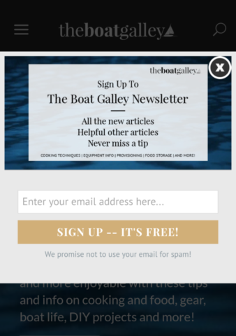 Boat Galley Mobile Optin