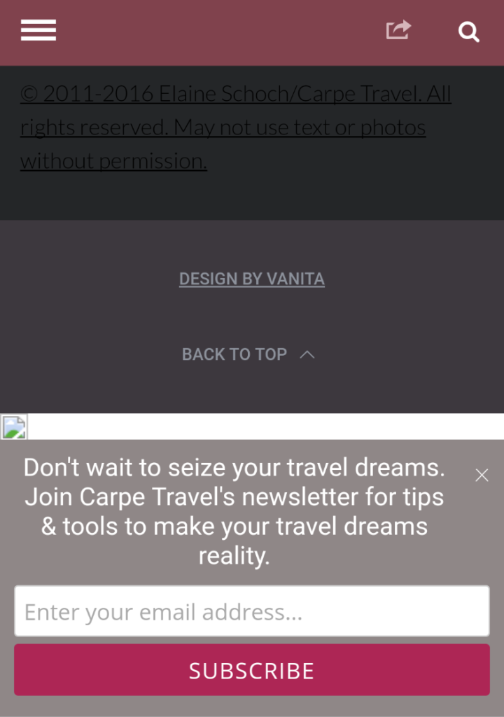 Carpe Travel Mobile Optin