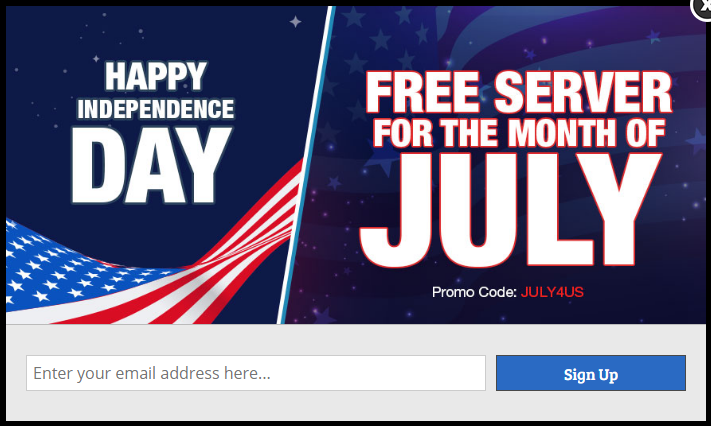 Cloudways used OptinMonster optins for July 4th offer