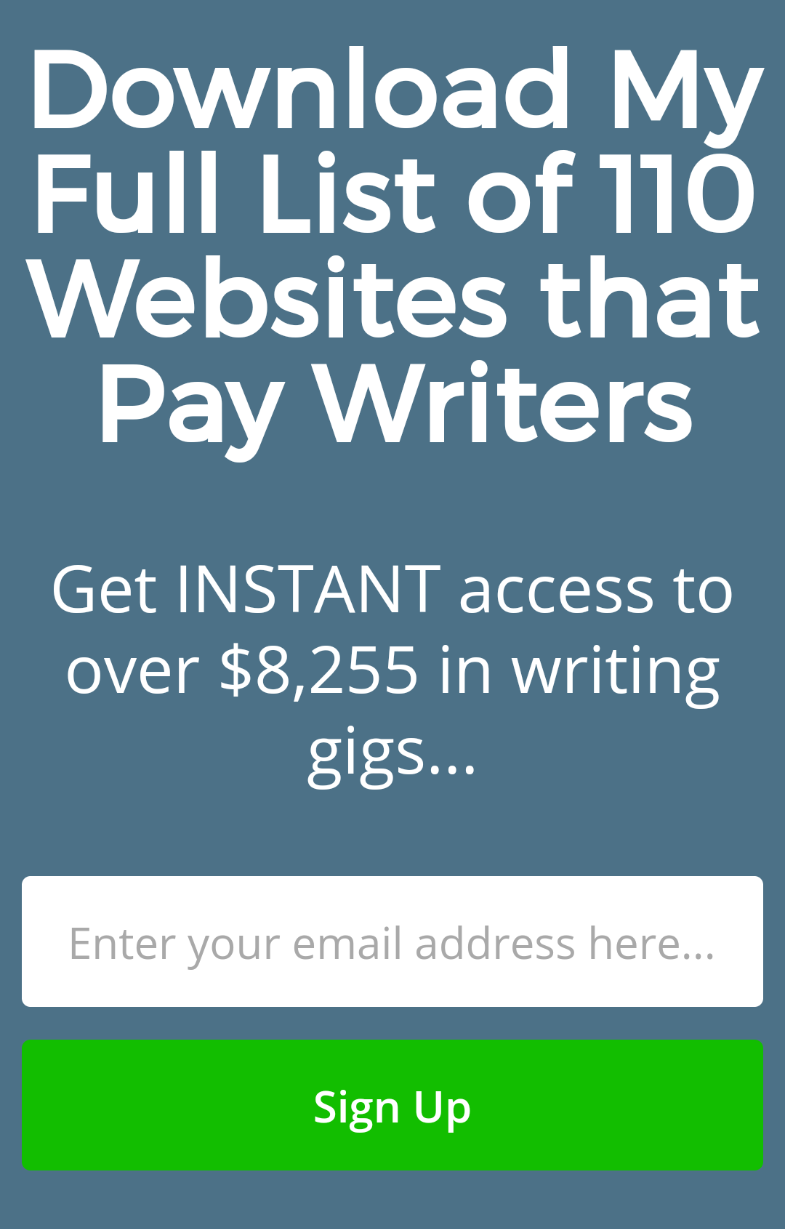 Writers in Charge Mobile Optin