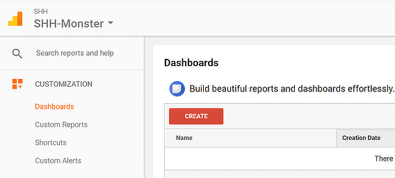 create google analytics dashboard