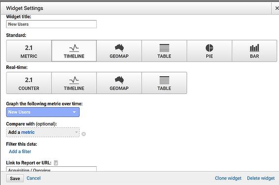 edit analytics dashboard widget