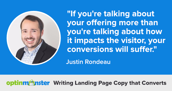 justin rondeau writing landing page copy
