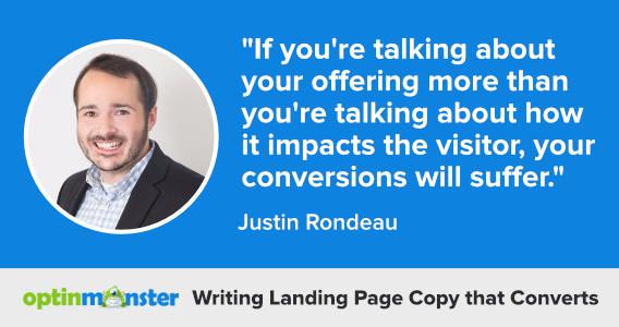 justin rondeau writing landing page copy