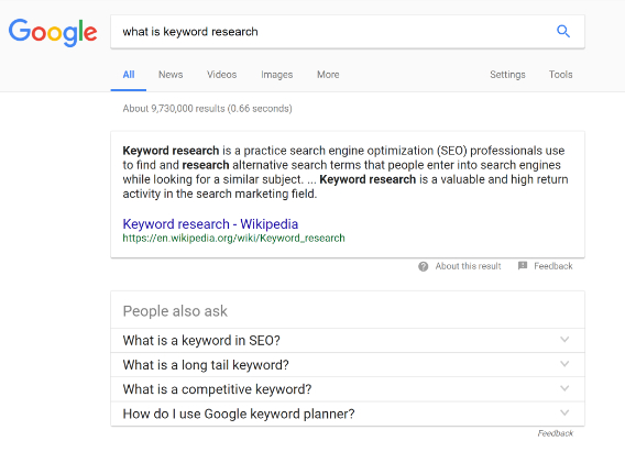keyword research answer box