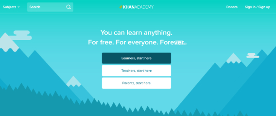 khan academy landing page segmentation