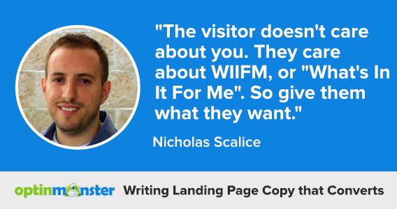 nicholas scalice writing landing page copy