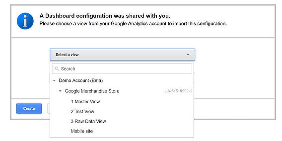 shared ga dashboard configuration