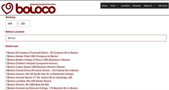 boloco email list segmentation