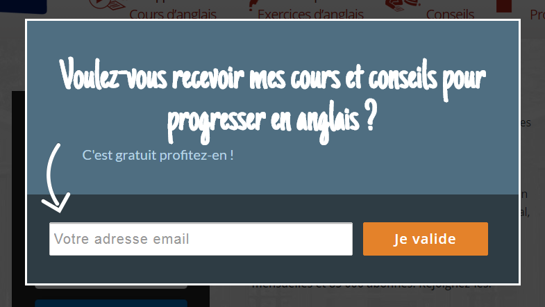 AnglaisCours uses an Exit-Intent optin to offer a content upgrade