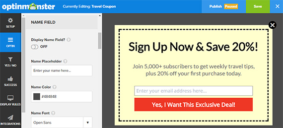 customize optin for travel email marketing