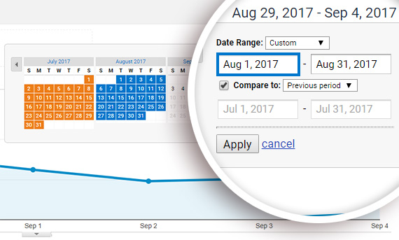 change date range in google analytics